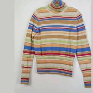 The Limited Cashmere Striped Turtleneck Sweater